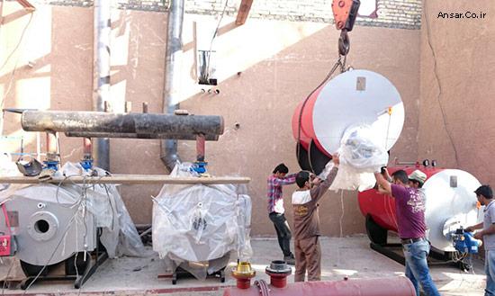 بویلر فولادی آب گرم جهت گرمایش اسختر بانک ملی خوزستان